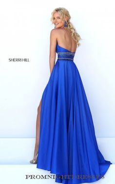 Beaded Royal Sherri Hill 50190 Halter A Line Prom Dress