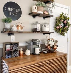 DIY Coffee Stations You Can Recreate at . coffee station - Calli Bridger - DIY Coffee Stations You Can Recreate at … coffee station DIY Coffee Stations You Can Recreate at … coffee station - Office Coffee Station, Coffee Station Kitchen, Coffee Bars In Kitchen, Coffee Bar Home, Home Coffee Stations, New Kitchen, Kitchen Decor, Coffee Area, Coffee Nook
