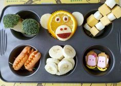 """5 Little Monkeys Swinging from a Tree"" muffin tin lunch by Muffin Tin Mom"
