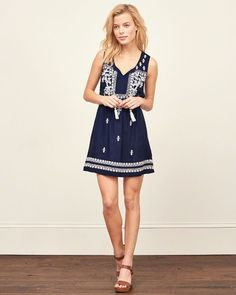 Womens Embroidered Peasant Dress