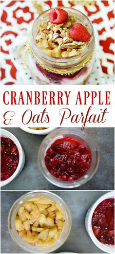 Pairing two classic holiday favorites, this cranberry apple oats parfait is the perfect easy, light breakfast for any day of the week! Vegan Breakfast Options, Healthy Breakfast Recipes, Snack Recipes, Cranberry Recipes, Apple Recipes, Low Carb Recipes, Easy Holiday Recipes, Easy Delicious Recipes, Winter Recipes
