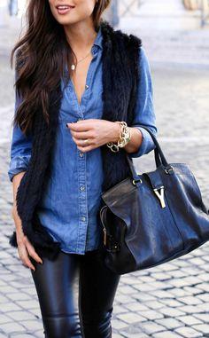 Kat Tanita looks cool and casual in a denim shirt and leather trousers from Ralph Lauren. Leggings: Ralph Lauren, Shirt: Rails LA, Vest: Love Token, Heels: Aquazzura.