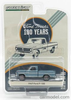 GREENLIGHT 27920B Scale 1/64  FORD USA F-100 PICK-UP 1967 - 100 YEARS FORD USA TRUCKS LIGHT BLUE MET