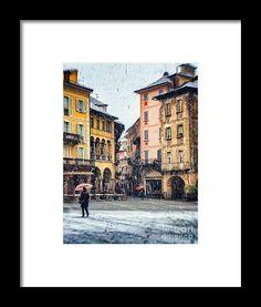 Italian Square On A Snowy Day  - #print #wallart #italy #snowy #winter