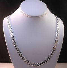 """ITALY 925 STERLING SILVER DIAMOND CUT CURB LINK CHAIN NECKLACE 22"""" 46 grams 8mm #AuthenticItalianTopQualityCraftsmanship #Chain"""