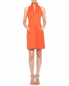 Sleeveless Pleated Zip-Front Dress by Akris punto at Neiman Marcus.