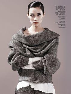Tao Okamoto | Jacket and pants by Haider Ackermann, white shirt by Stella McCartney | Photog: Josh Olins | Vogue (China) August 2013