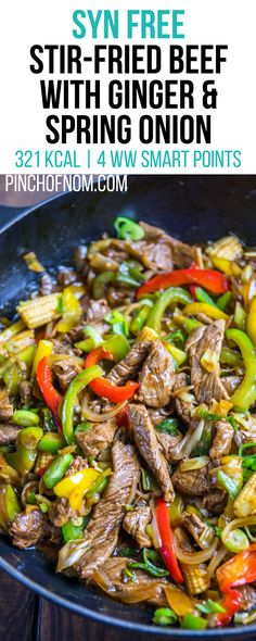 Syn free stir fried beef with ginger and spring onion pinch of nom slimming world recipes 321 kcal syn free 4 weight watchers smart points 25 delicious slimming world dinner recipes Slimming World Stir Fry, Slimming World Beef Recipes, Slimming World Fakeaway, Slimming World Dinners, Slimming World Diet, Slimming Eats, Diet Recipes, Healthy Recipes, Recipies
