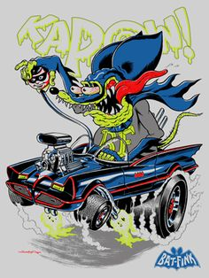 "Rat Fink Hot Rod Art | The Blot Says...: DC Comics x Rat Fink ""Bat-Fink"" Screen Print by ..."