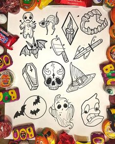🎃TOMORROW🎃 Sunday is the first of our Halloween walk-in tattoo days this year at 👻 Join us from for specially… 406449935121328246 Flash Art Tattoos, 13 Tattoos, Body Art Tattoos, Sleeve Tattoos, Tatoos, Halloween Doodle, Halloween Drawings, Halloween Tattoo Flash, Cute Halloween Tattoos