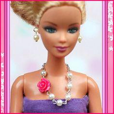 barbie doll jewelry set barbie flower pearl necklace by sinogem, $3.99