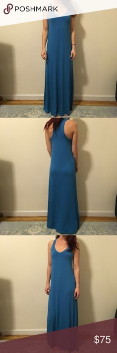 Vince Ocean Blue Maxi Racerback Dress Vince Maxi dress in a gorgeous shade of blue- has a lined inside bra top and is not lined other than that. No closures, is long and super super soft! Very sleek and a great addition to your wardrobe! Vince Dresses Maxi