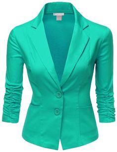 Doublju Women BoyFriend Fit Cotton Span 3/4 Sleeve with Shirring Detail Blazer MINT Large Doublju http://www.amazon.com/dp/B00KCZDYTM/ref=cm_sw_r_pi_dp_dGEYtb06SR609FDX different colors