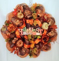 SALE Warm Deluxe Autumn Harvest Ribbon Deco by wreathsnpretties