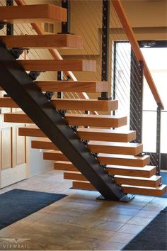 Floating Stairs- With sleek lines that soar in mid-air, the floating stair i… Timber Staircase, Metal Stairs, Floating Staircase, Modern Stairs, Painted Stairs, Spiral Staircases, Home Stairs Design, Stair Design, Stairs Architecture