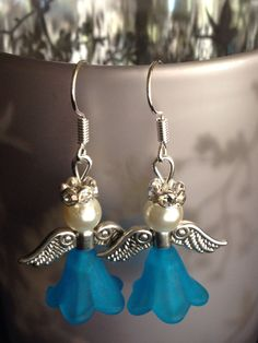 Blue angel Christmas earrings