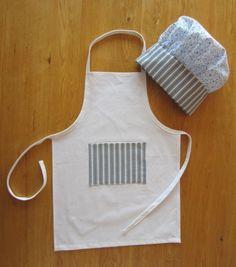 Set cuisine tablier et toque de cuisinier enfant coton en bleu et blanc