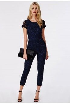 20c29d0e07a Lace Tailored Jumpsuit Navy Tailored Jumpsuit