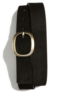 It's not so easy finding sexy, perfect belts for the men in your life. This is one. Buckle is brushed metal with a great shape - interesting but not girly. By Hugo Boss, currently available at Nordstrom's.