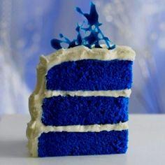 Blue velvet cake for CATS! A new twist on a traditional red velvet cake, inspired by the royal heirloom sapphire engagement ring. Food Cakes, Cupcake Cakes, Bakery Cakes, Blue Velvet Cakes, Blue Cakes, Velvet Cupcakes, Recipe For Blue Velvet Cake, Purple Velvet, Blue Satin