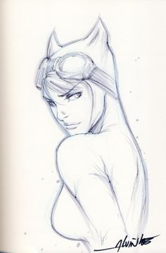 Referencia para  ilustración, me gusta la pose - Catwoman by Alvin Lee.