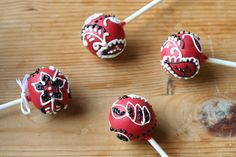Red Bandana Cake Pops by Sweet Lauren Cakes, via Flickr...Cuter in Green for Boozefighters