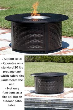 Multifunctional Bellante Woven Cast Aluminum LPG Fire Pit is 50,000 BTUs and operates on a standard 20 lbs propane tank which safely sits underneath the unit, and is accessible through a hinged door. This LPG Fire Pit not only functions as a fire pit, but an outdoor patio table.