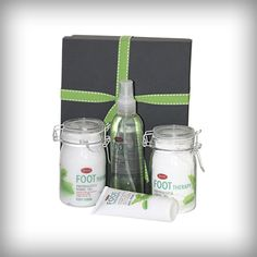 Pamper your feet with peppermint and green tea foot scrub, foot soak, heel treatment and foot spritzer. Packed in a small wooden box. Small Wooden Boxes, Foot Soak, All Gifts, Little Boxes, Peppermint, Therapy, Heel, Mint, Small Boxes