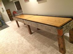Custom shuffleboard table with burnt wood, leather and bamboo by Ginger Hawk Customs. Bamboo, Custom Creations, Wood, Furniture, Table, Home, Shuffleboard Table, Coffee Table, Home Decor