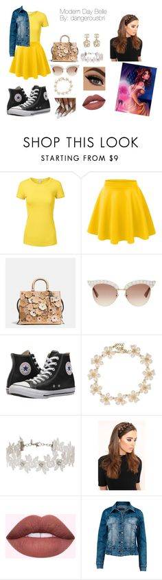 """""""Modern Day Belle"""" by dangerousbri on Polyvore featuring Disney, LE3NO, Coach, Gucci, Chanel, Converse, Kenneth Jay Lane, Miss Selfridge, Venus and modern"""