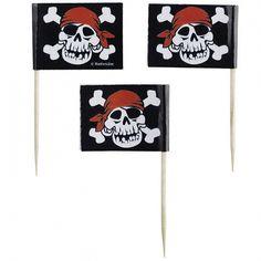 Piraten cocktailprikkertjes 30 stuks. Papieren prikkertjes met een piraten skelet als opdruk. De cocktailprikkertjes worden geleverd per 30 stuks.