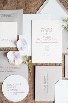 Modern letterpress wedding invite.