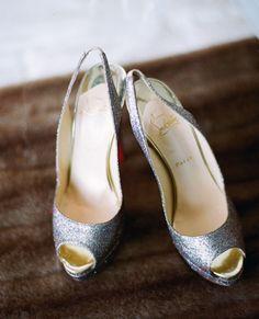 silver bridal shoes // Photo: Esther Sun Photography // TheKnot.com