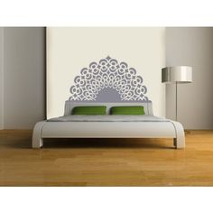 Headboard Wall Decal Queen Full Double Twin Size Bed Charm Peacock Feather Look Christmas Gift Wall Sticker Home Art Bedroom Decals Vinyl Stickers Bedroom Boy Man Decals Removable Mural Murals 942 Bedroom Stickers, Wall Stickers Home, Vinyl Wall Decals, Headboard Decal, Painted Headboard, Modern Headboard, New Room, Bedroom Wall
