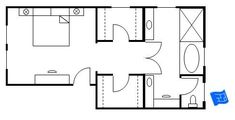 Master bedroom floor plan with the entrance straight into the bedroom. We then progress past the walk-in closets and on to the master bathroom. Click onto site for more analysis.: