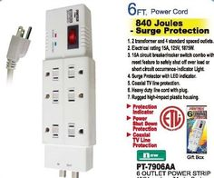 6 OUTLET POWER STRIP WITH SURGE PROTECTOR COAXIAL TV LINE LED INDICATOR 6ft CORD
