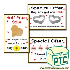 Cake Shop Role Play Resources - Primary Treasure Chest Heart Shaped Cookie Cutter, Cookie Cutters, Teaching Activities, Teaching Ideas, Shapes Biscuits, Ourselves Topic, Valentines Day Cakes, Saint Valentine, Cake Shop