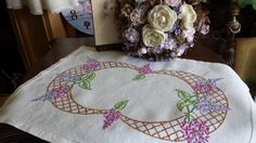 Delightful Vintage Embroidered Lilacs Linen Tray Cloth Table Linens