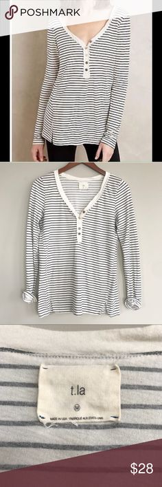 "Anthropologie t.la striped Henley tee Anthropologie t.la striped Henley tee is in EUC, no flaws, light wash wear  Bust 18"" Length 28"" Anthropologie Tops Tees - Short Sleeve"