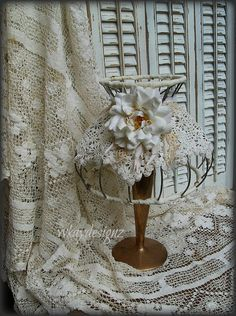 Altered Vintage Lace Lampshade Lamp Shade Shabby by WKayDesignz, $45.21