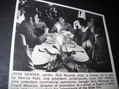 JOHN DENVER at dinner party in Greenwich Village NY 1972 INDUSTRY promo pic/text