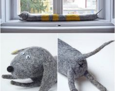 Felted dog draught excluder / draft dodger / by dorasdisegno Door Draught Stopper, Draft Stopper, Door Draft, Felt Dogs, Main Colors, Dodgers, Windows And Doors, Save Energy, Kids Crafts