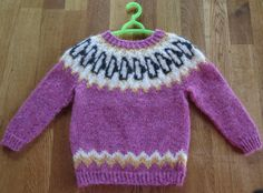 Traditional Icelandic natural wool sweater, type: Penguin # 1. Hand knitted by Thora Sigurdar. - Wool fiber artist.