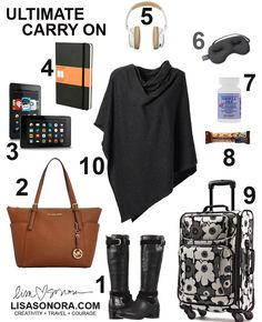 Top 10 (11, actually) In-Flight Essentials to be stylish, warm, organized, entertained, fed, calm, rested.  http://www.lisasonora.com/blog/visual-packing-list-top-10-carry-on-essentials/  The blog has everything detailed and linked to shopping...for immediate gratification.  I've ALWAYS wanted to make collages to illustrate lists of favorite items, this is my first one. Had so much fun making this. Enjoy!