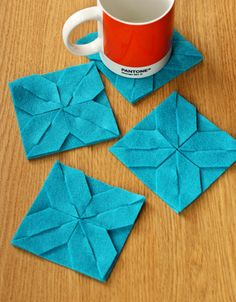 Modular felt coasters  http://www.curbly.com/users/craftmel/posts/13576-coasters-and-trivets-the-magic-of-modular