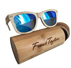 bd5f13798d Wooden Sunglasses by Frank Taylor - Natural Bamboo - Handmade - 1 Year  Warranty- Polarized (Blue Lenses)