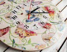 Купить большие часы настенные ЛЕТНЕЕ НАСТРОЕНИЕ - часы, часы настенные, часы ручной работы