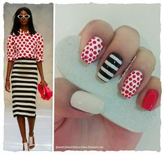 "CREAM STRIPES & RED DOTS INSPIRED IN FASHION Day 25 for the #31DC2013 **FOR DETAILS FOLLOW MY BLOG OR DO ""LIKE"" TO MY FACEBOOK, would be great!! All comments are welcome!!! https://www.facebook.com/glamstylenailsbycarolina **"