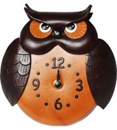 Owl Japanese Leather Wall Clock #26262