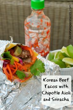 Korean Beef Tacos with Chipotle Aioli and Sriracha- Blending of Korean and Mexican for AH-mazing sweet and spicy tacos!   #tacos   www.SavoryExperiments.com